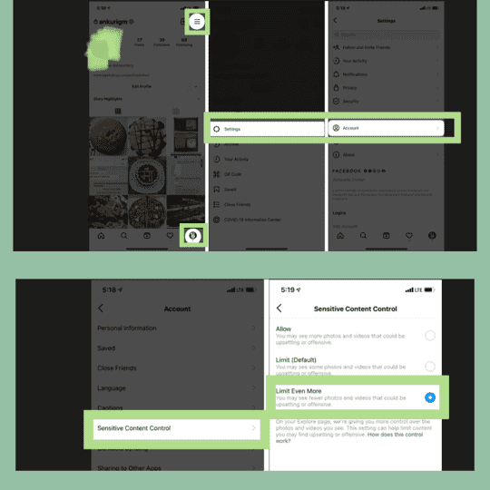 Steps to enable instagram sensitive content control.