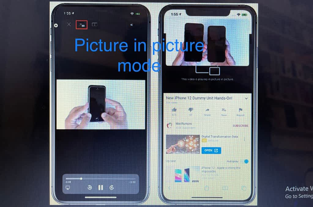 enable picture in picture mode on iphone. on web