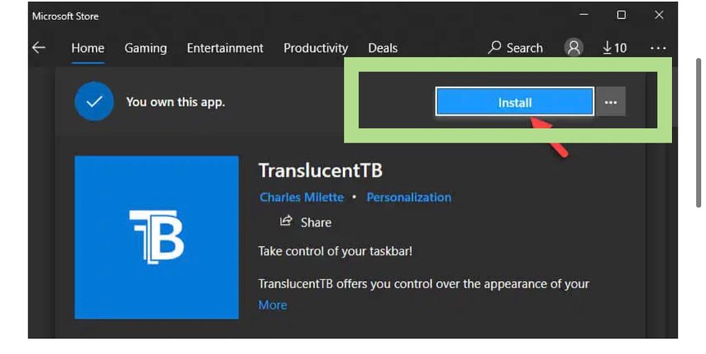 Install translucent app