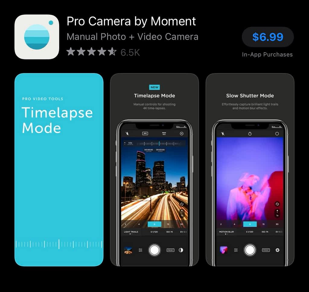 best apps for YouTubers android, Moment Pro Camera