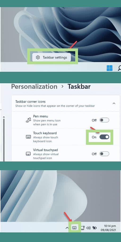 Type emojis on windows 11 via touch keyboard