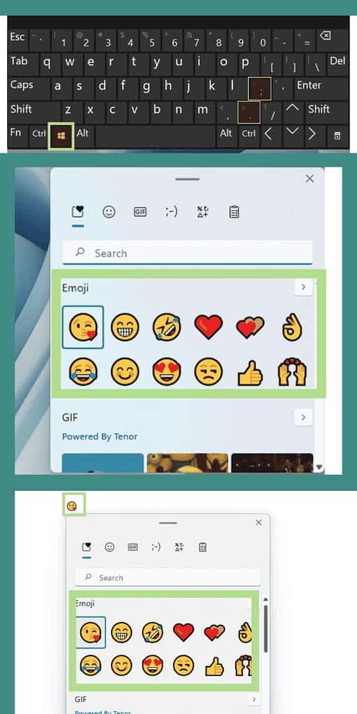 type emojis on windows 11 laptop or pc via keyboard shortcut