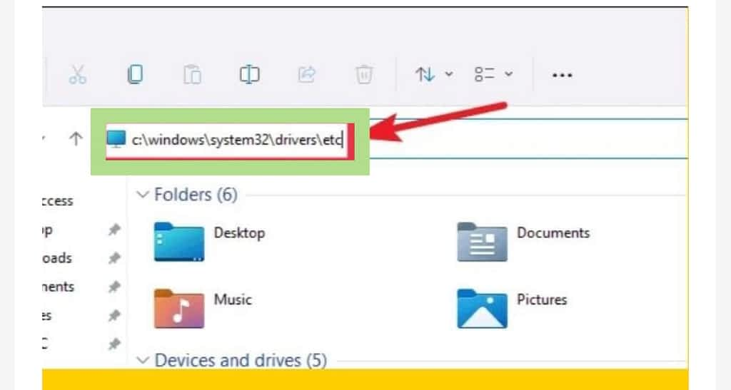 Modify your hosts file on windows 11, File explorer