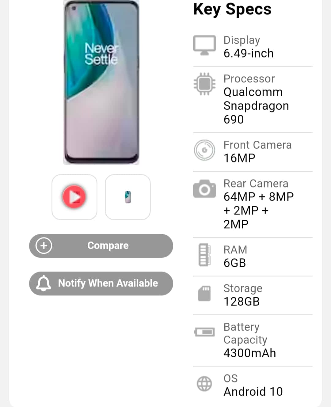 Android 11 update for OnePlus Nord N10