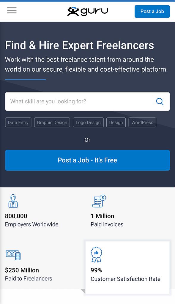 Best freelancing websites to work, Guru.com