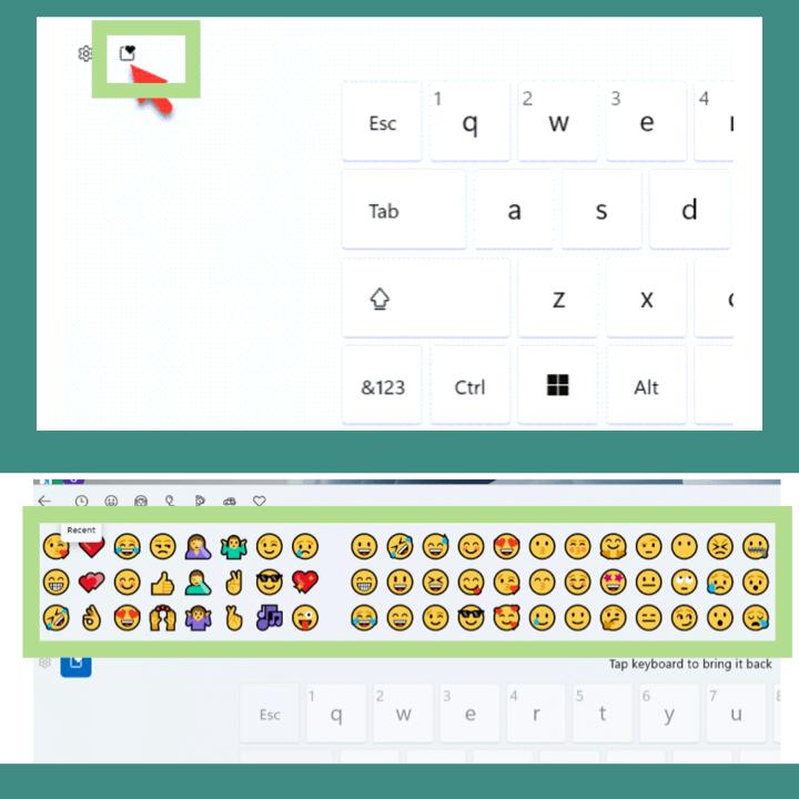 type  emojis on winodws 11 laptop or pc via touch keyboard