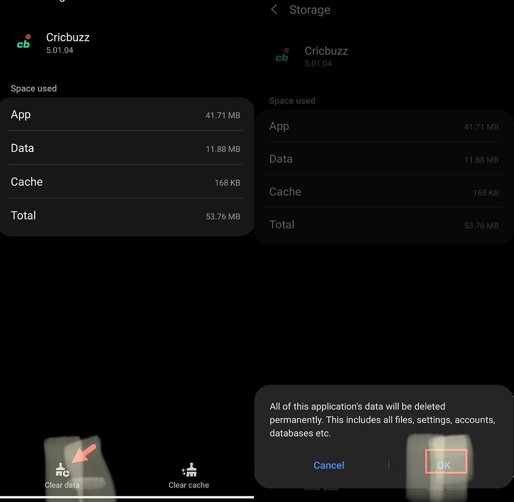 clear app cache on Samsung S10, S20, S21