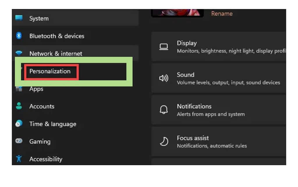 Click on the personalization in the settings