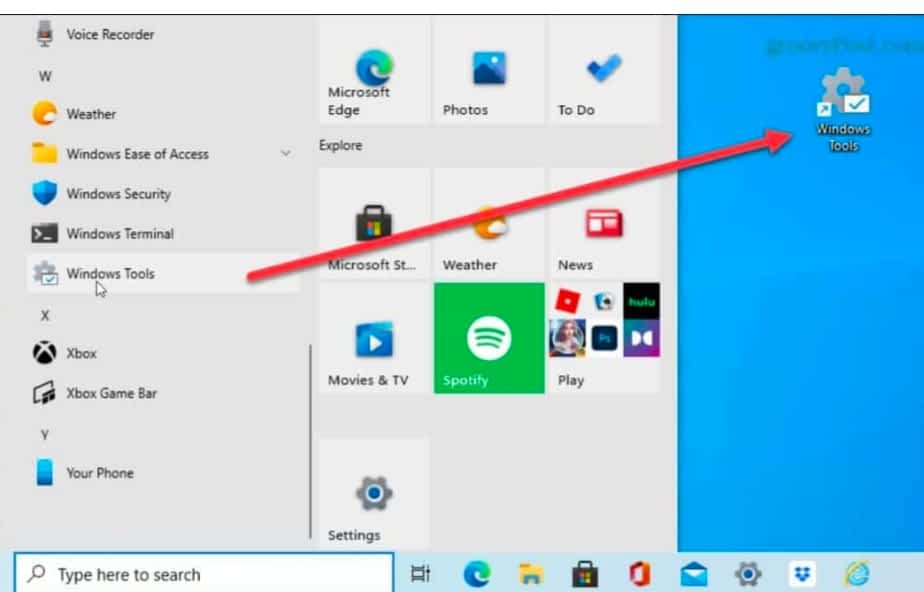 create a shortcut to the Windows Tools Folder for easier access