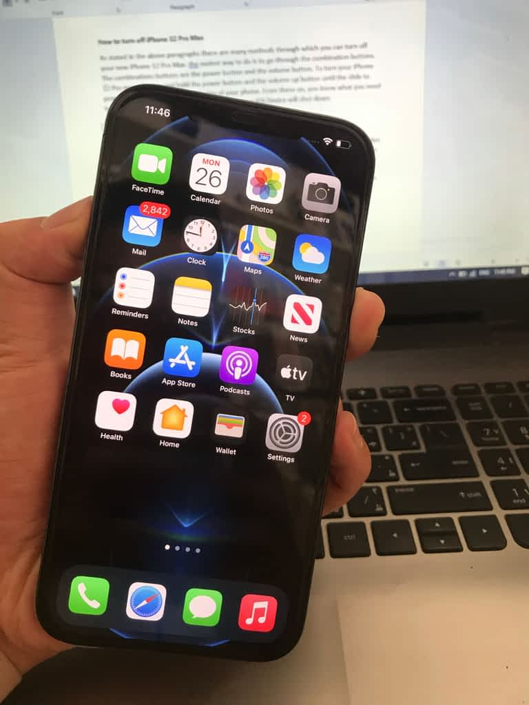 How to turn off iPhone 12 Pro Max? Combination keys.