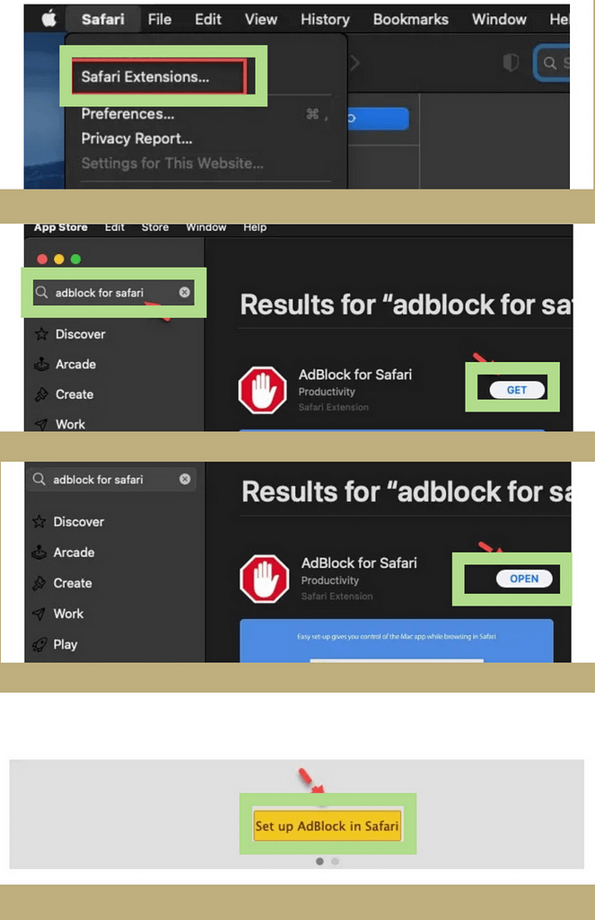 stages to permanently block ads on safari browser on mac