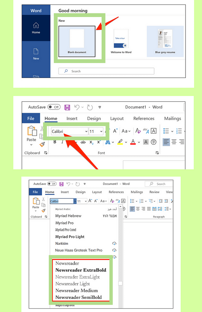 Use google Fonts in microsoft word, use fonts in microsoft word