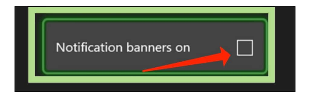 notification banners on