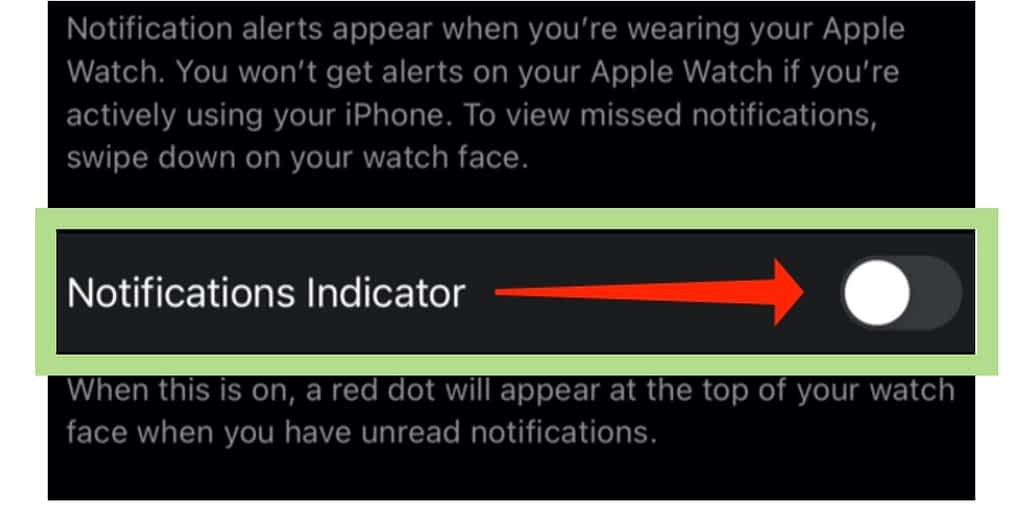 Notifications indicator turned off