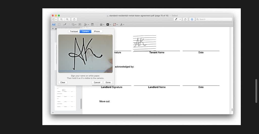 Use camera to sign a document on mac