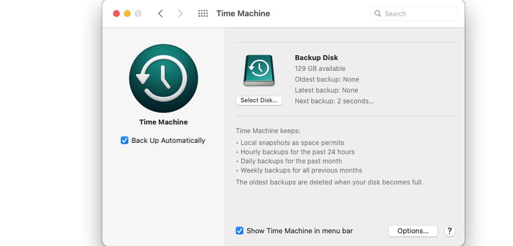 select disk to backup