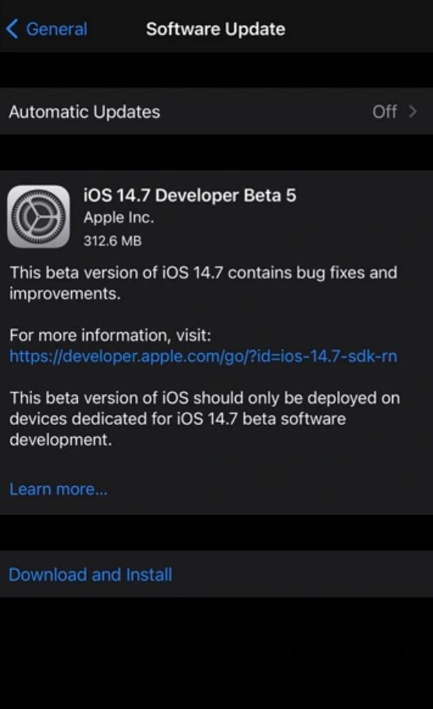 Apple seeds iOS 14.7 Beta 5 and iPadOS 14.7 Beta 5