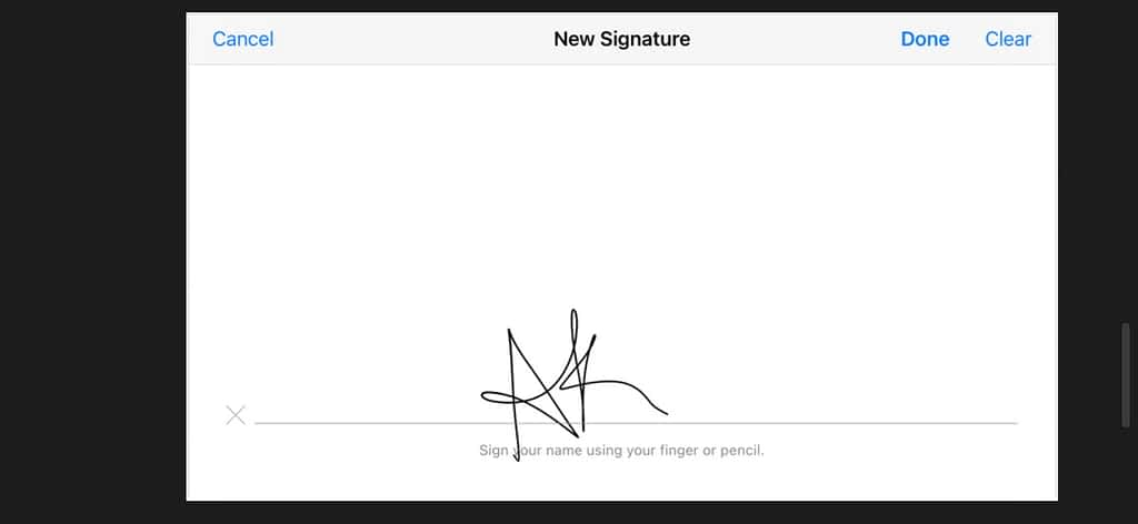 Your signature on trackpad