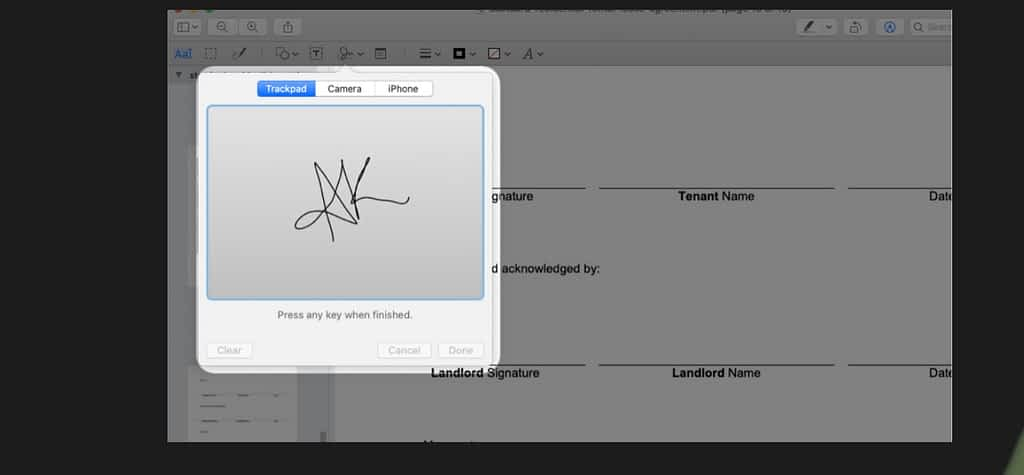 Use trackpad to sign a document on mac